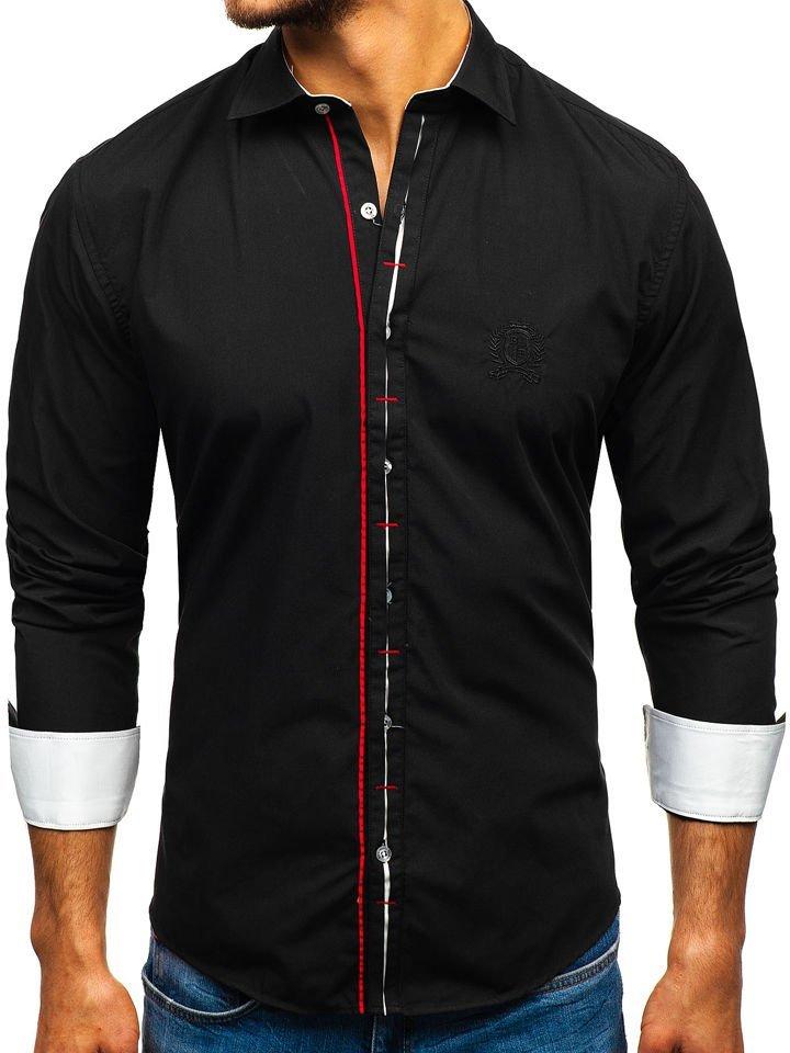 73956b15 Koszula męska elegancka z długim rękawem czarna Bolf 1769