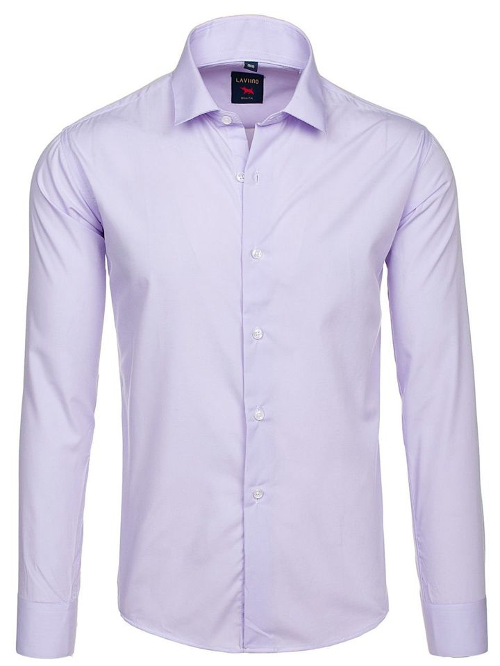 Koszula męska elegancka z długim rękawem fioletowa Denley TS100  qmfLL