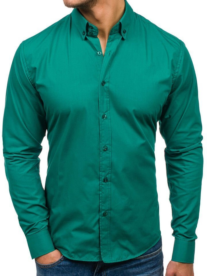 22e102d6 Koszula męska elegancka z długim rękawem zielona Bolf 5821-1
