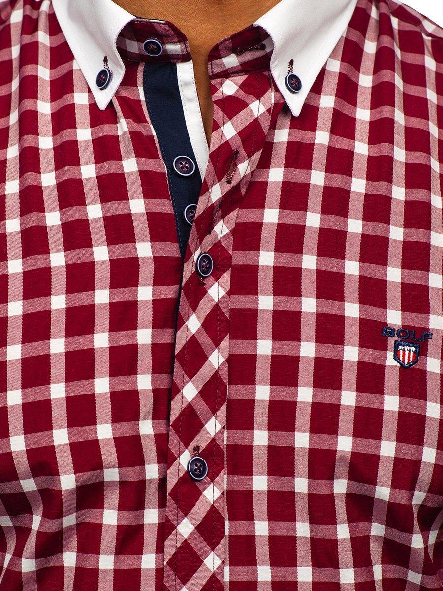 0f3146a4276b95 Koszula męska w kratę z długim rękawem bordowa Bolf 5737