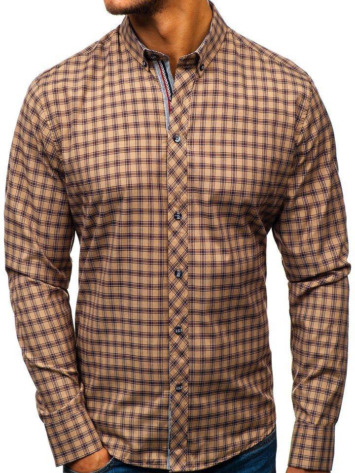 Brązowa koszula męska elegancka w kratę z długim rękawem  YmDLT