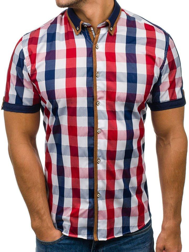 Modna koszula męska bordowa z krótkim rękawem