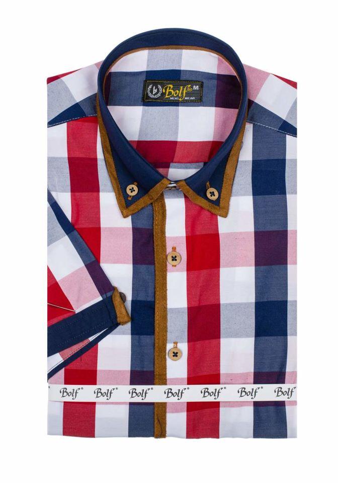 Koszula męska w kratę z krótkim rękawem czerwona Bolf 5507 1  aCh4l