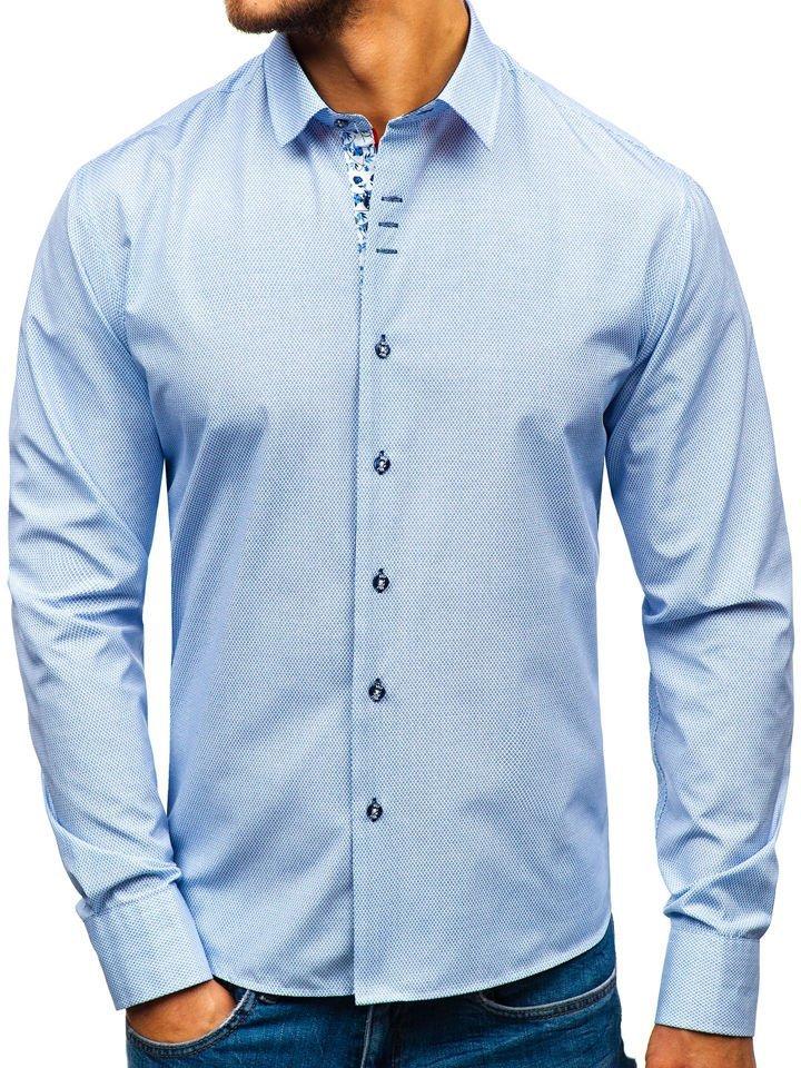 5c1e136e14a177 Koszula męska we wzory z długim rękawem biało-granatowa Bolf 9704