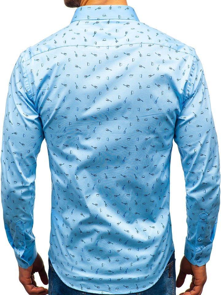 Koszula męska we wzory z długim rękawem błękitna 201G24  7xCQa