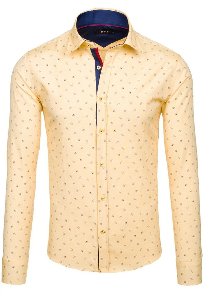 b70b61b95d796e Koszula męska we wzory z długim rękawem żółta Bolf 6886