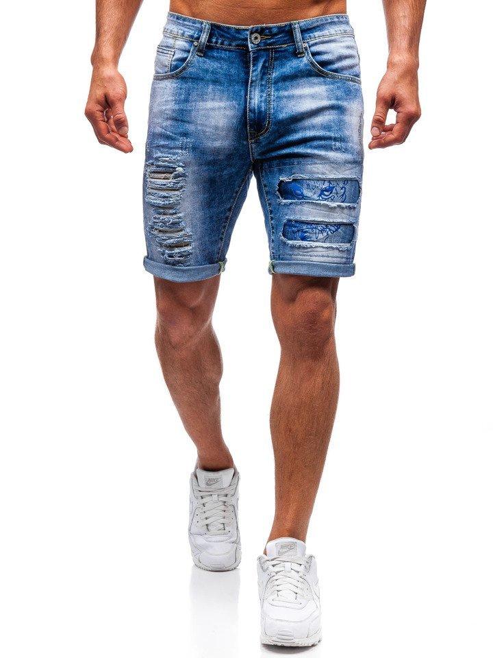 9ffa10f0318080 Krótkie spodenki jeansowe męskie niebieskie Denley T577