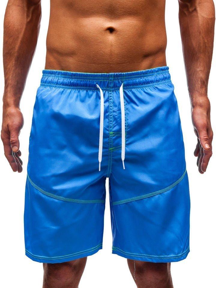 b2c359294f8592 Krótkie spodenki kąpielowe męskie niebieskie Denley 349