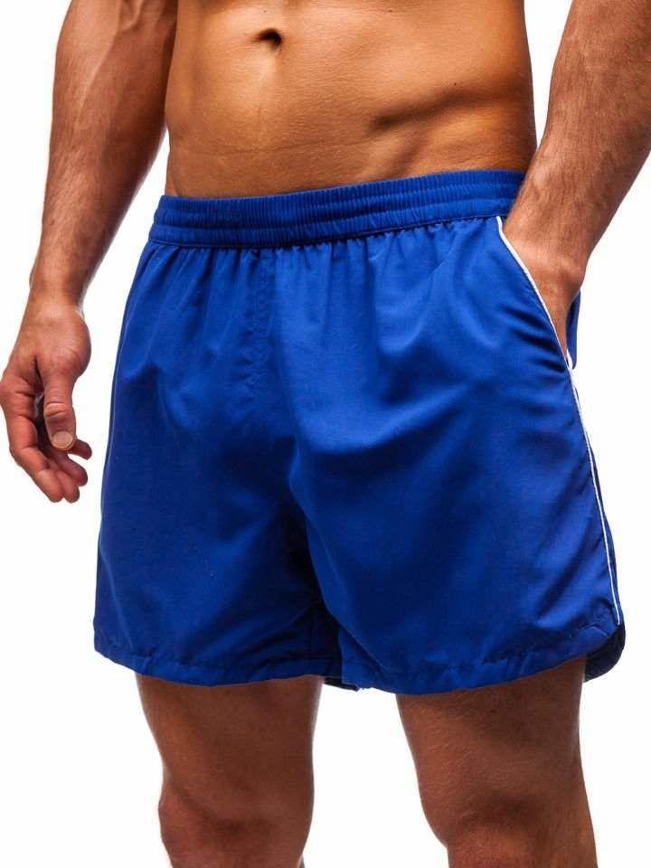 dde75e06737248 Krótkie spodenki kąpielowe męskie niebieskie Denley Y770
