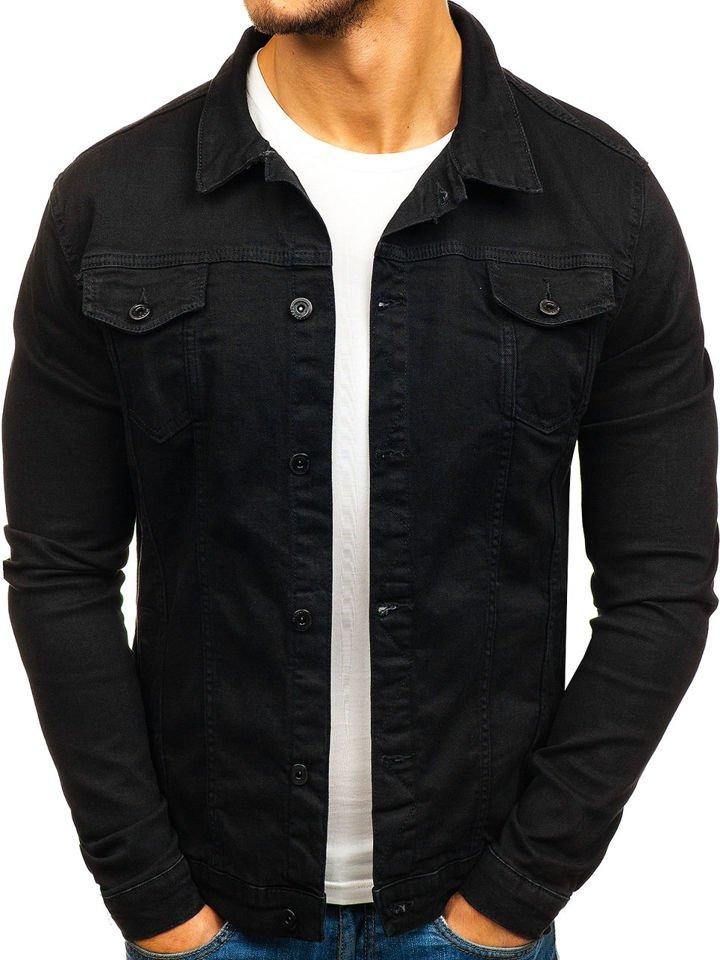 f965894389df6 Kurtka jeansowa męska czarna Denley 2050