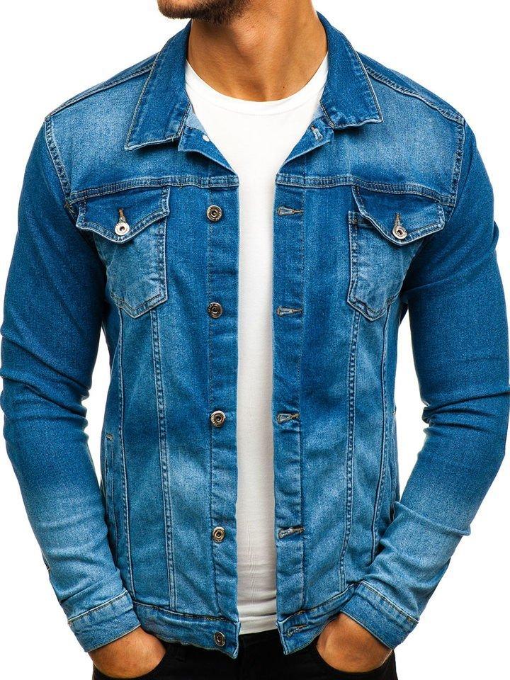 659643dc60451 Kurtka jeansowa męska niebieska Denley 2051