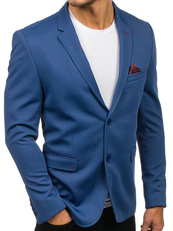 57ebcd40ee4bc Marynarka męska elegancka jasnoniebieska Denley 303