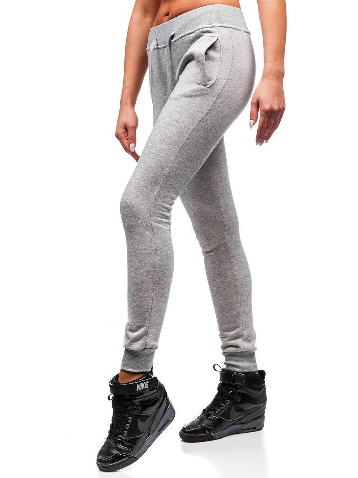 45a989f95abfa3 Spodnie dresowe damskie szare Denley 77001