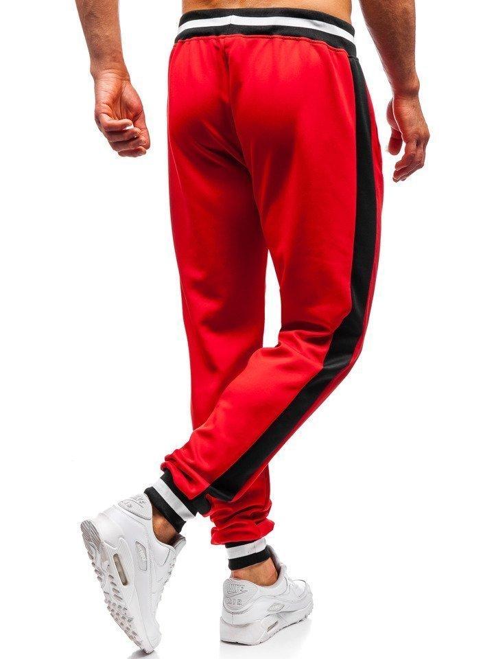 237edf083 Spodnie dresowe joggery męskie czerwone Denley 99010