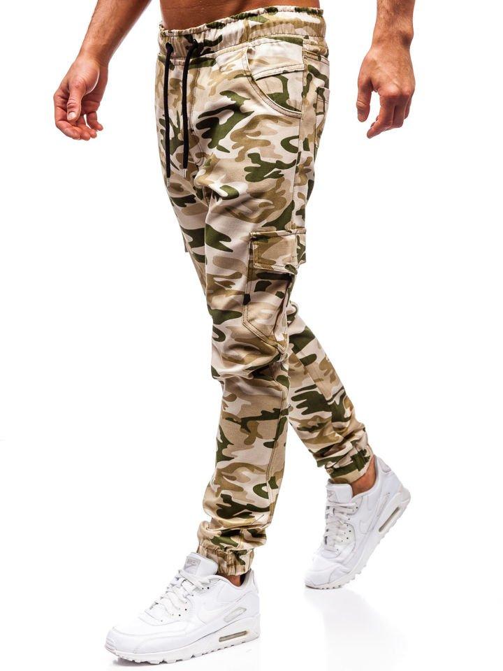 0dda89a8c8727c Spodnie joggery bojówki męskie moro-beżowe Bolf 0404