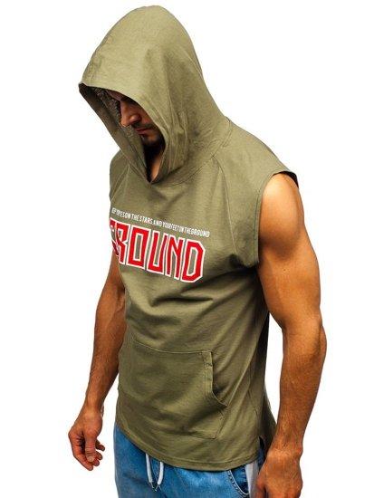 T-shirt męski z nadrukiem i kapturem zielony Bolf 2859