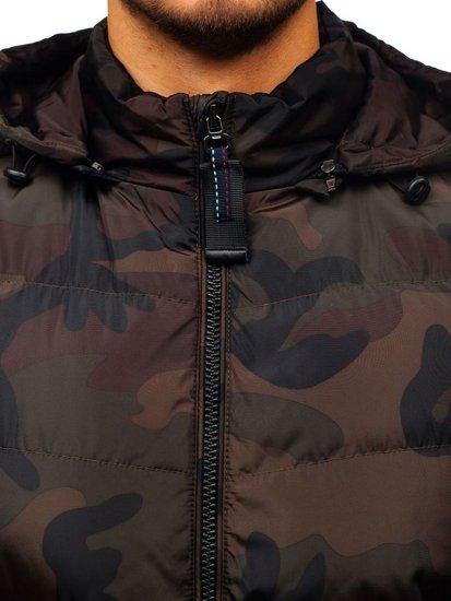 Bezrękawnik męski z kapturem moro-brązowy Denley 4786