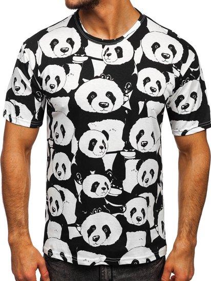 Biały T-shirt męski z nadrukiem Denley 14902