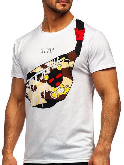 Biały T-shirt męski z nadrukiem Denley KS2371