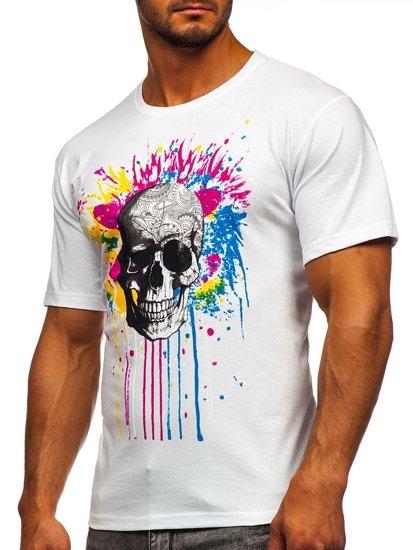 Biały t-shirt męski z nadrukiem Bolf 142170
