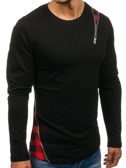 Bluza męska bez kaptura czarno-czerwona Denley 0754