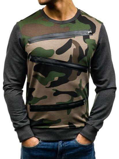Bluza męska bez kaptura moro zielono-grafitowa Denley 0841