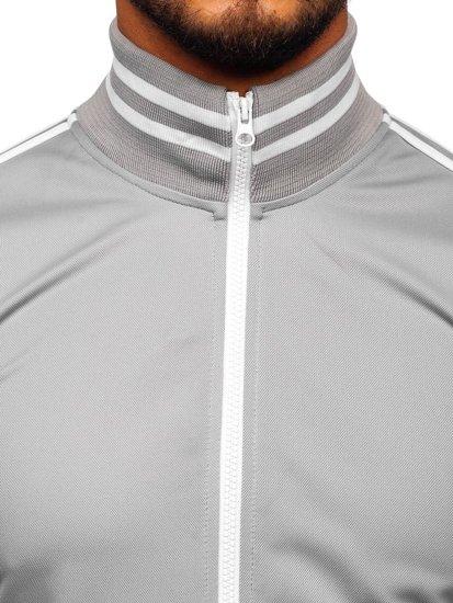 Bluza męska bez kaptura rozpinana retro style szara Bolf 11113