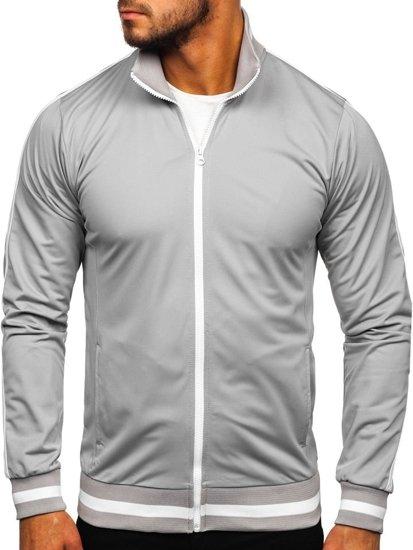 Bluza męska bez kaptura rozpinana retro style szara Bolf 2126