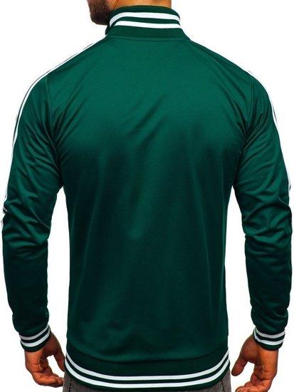 Bluza męska bez kaptura rozpinana retro style zielona Bolf 11113