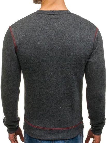 Bluza męska bez kaptura z nadrukiem antracytowa Denley 0530-1