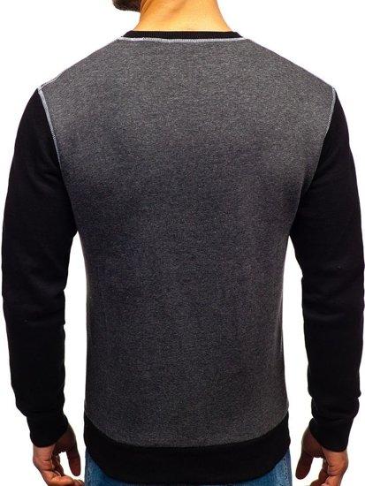 Bluza męska bez kaptura z nadrukiem antracytowa Denley 0594