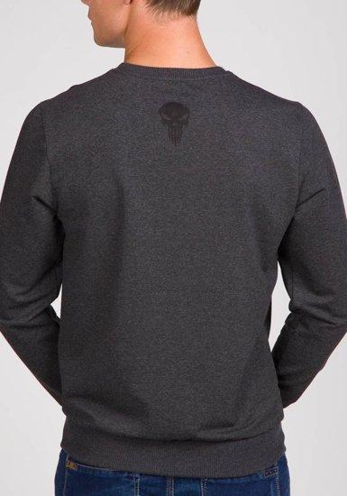 Bluza męska bez kaptura z nadrukiem antracytowa Denley 0740