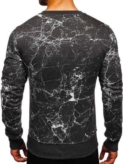 Bluza męska bez kaptura z nadrukiem antracytowa Denley J40