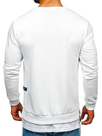 Bluza męska bez kaptura z nadrukiem biała Bolf 11116