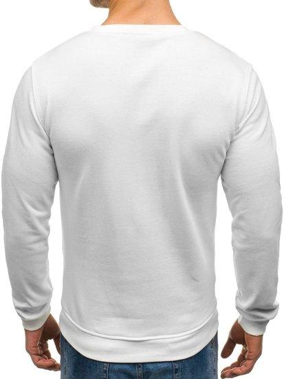 Bluza męska bez kaptura z nadrukiem biała Denley 9036