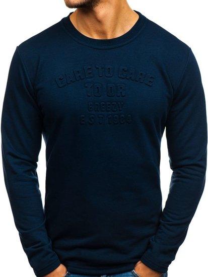 Bluza męska bez kaptura z nadrukiem ciemnogranatowa Denley 9096
