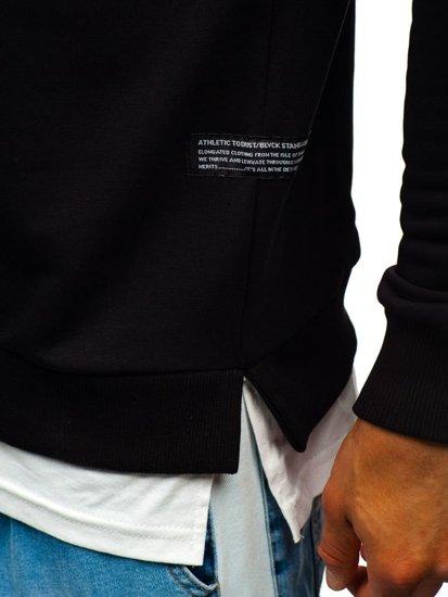 Bluza męska bez kaptura z nadrukiem czarna Bolf 11115