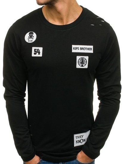 Bluza męska bez kaptura z nadrukiem czarna Denley 0745