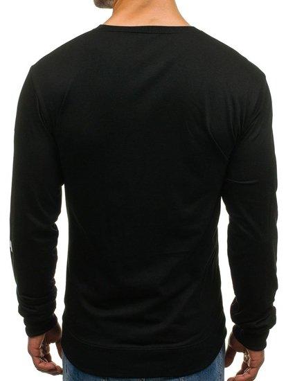 Bluza męska bez kaptura z nadrukiem czarna Denley 8057