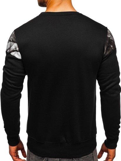Bluza męska bez kaptura z nadrukiem czarna Denley DD106