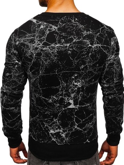 Bluza męska bez kaptura z nadrukiem czarna Denley J40