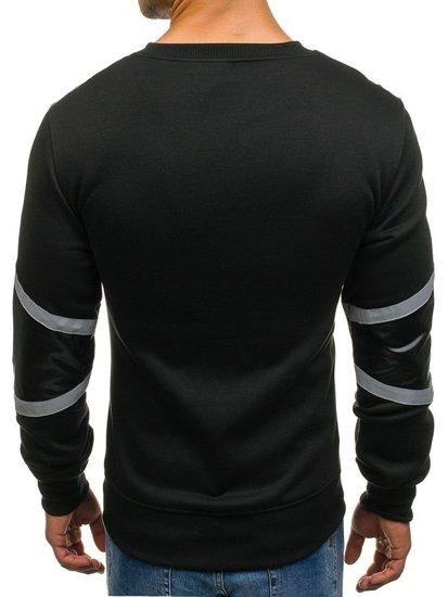 Bluza męska bez kaptura z nadrukiem czarna Denley Y72