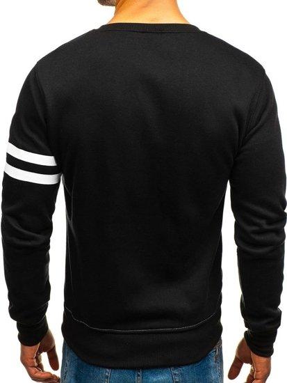 Bluza męska bez kaptura z nadrukiem czarno-szara Denley J45