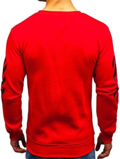Bluza męska bez kaptura z nadrukiem czerwona Denley 22012