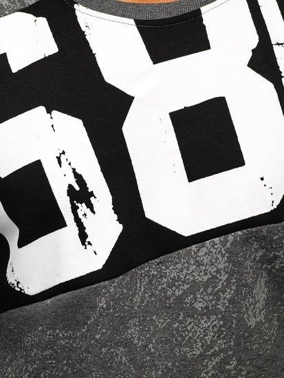 Bluza męska bez kaptura z nadrukiem grafitowa DD108