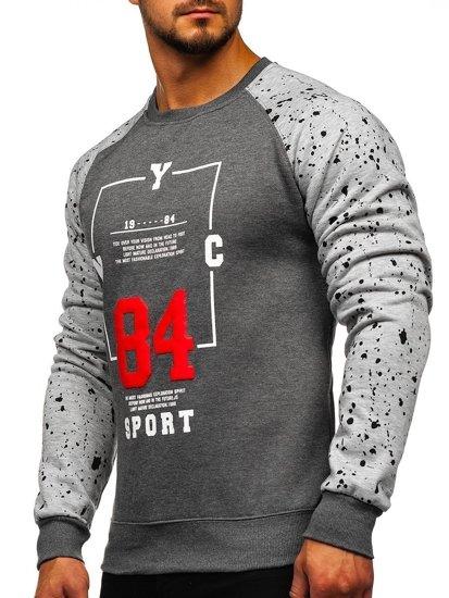 Bluza męska bez kaptura z nadrukiem grafitowa Denley DD07