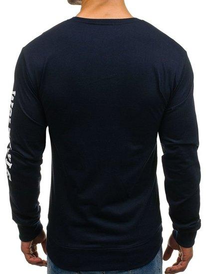Bluza męska bez kaptura z nadrukiem granatowa Denley 8058