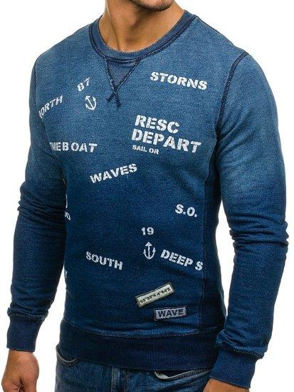 Bluza męska bez kaptura z nadrukiem granatowa Denley 9120