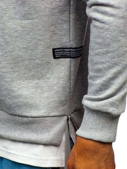 Bluza męska bez kaptura z nadrukiem szara Bolf 11115