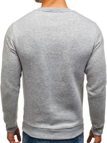 Bluza męska bez kaptura z nadrukiem szara Denley 0526